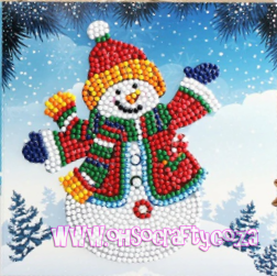 Christmas Greeting Images.Christmas Greeting Card Diamond Painting Kit Jolly Snowman