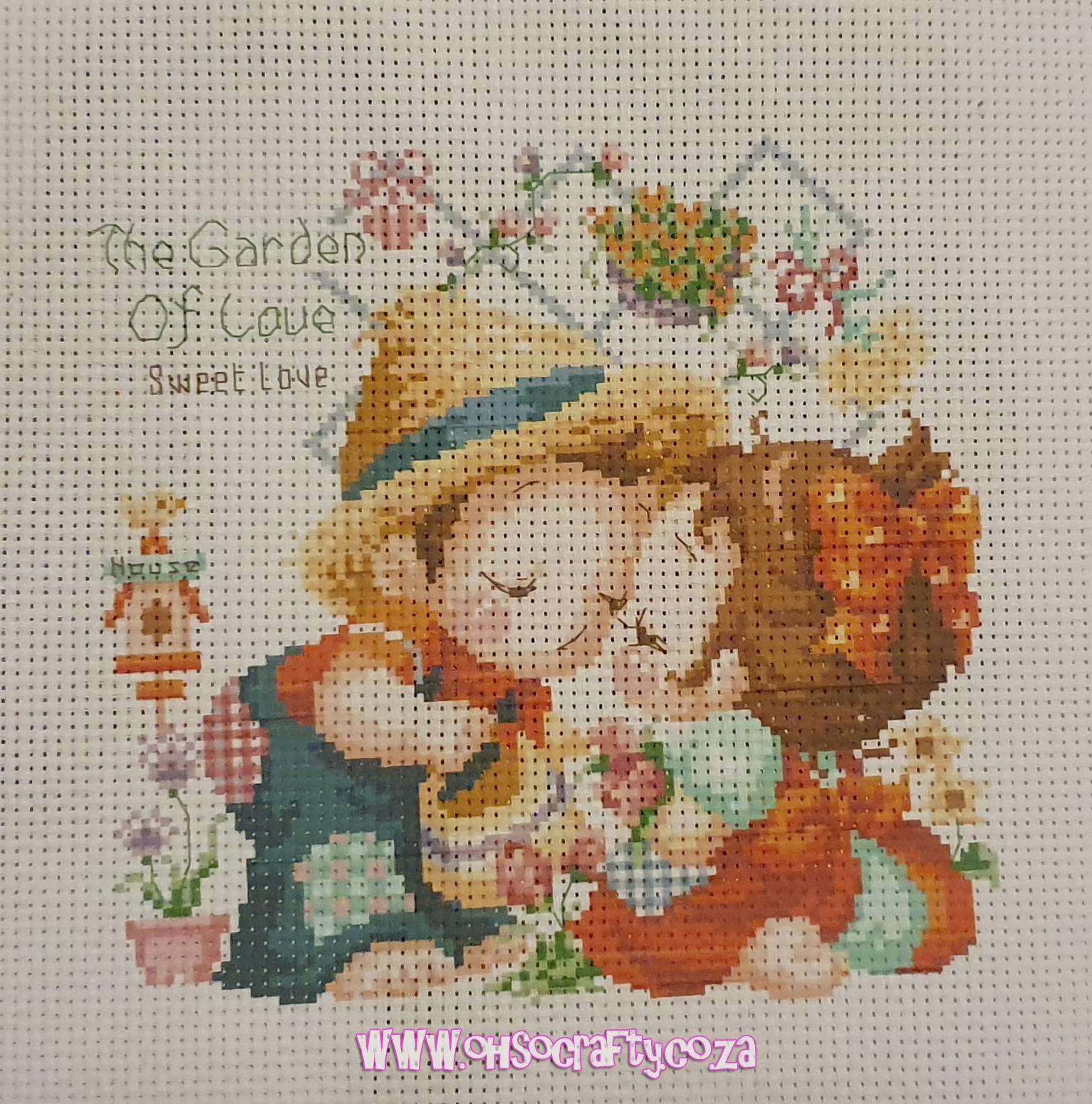 cross stitch kit  garden of love  ohsocrafty